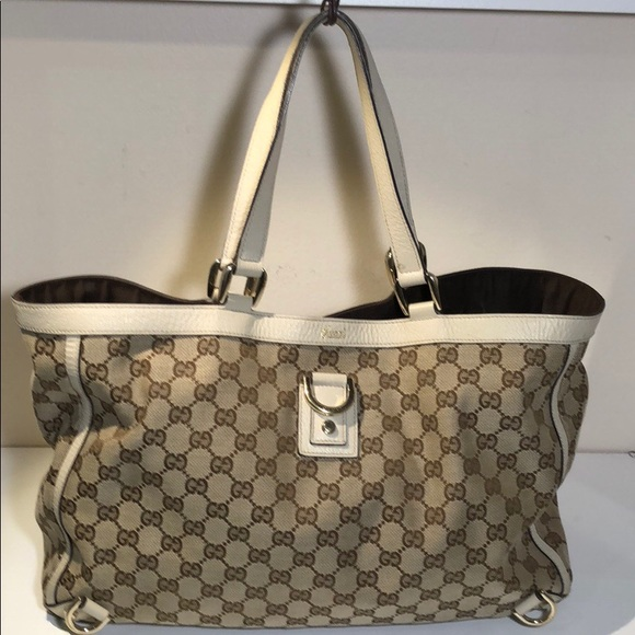 Gucci Handbags - Authentic Gucci GG Monogram Brown Beige Tote